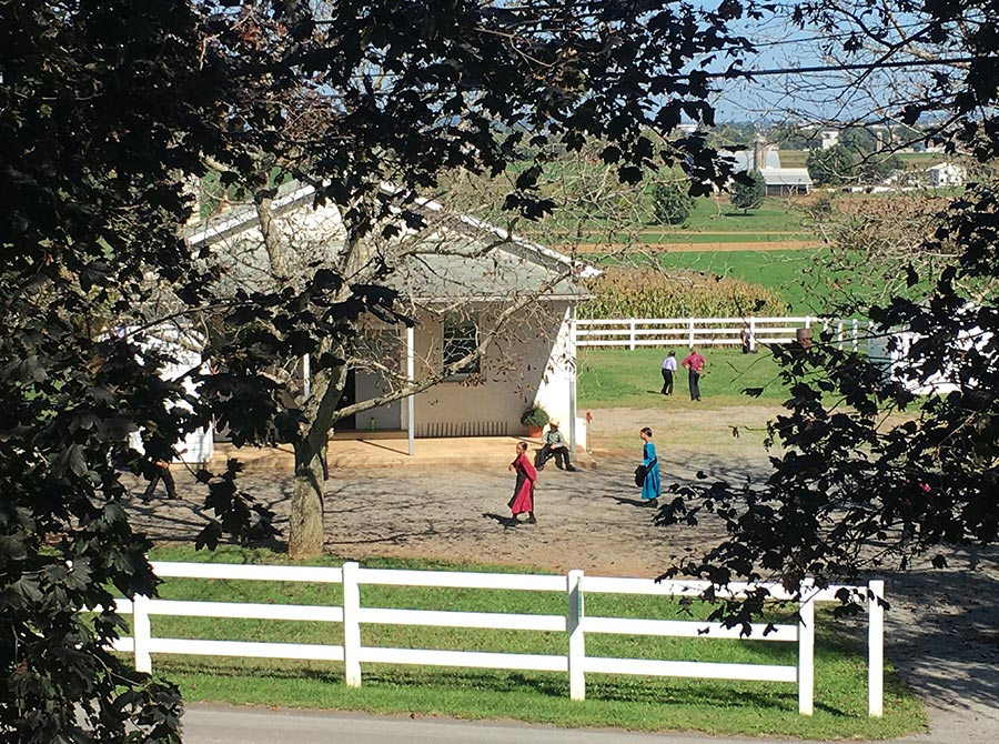 The property is surrounded by Amish farmland and an Amish school­house